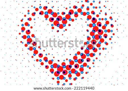 heart shape frame border isolated on white - stock photo