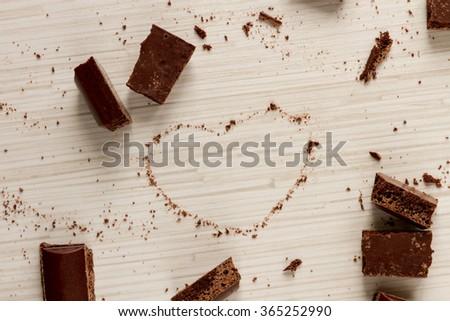 Heart shape from chocolate - stock photo