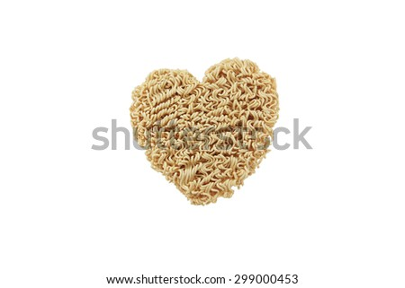 Heart shape from instant noodle isolated on white background