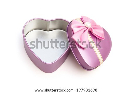 heart shape gift box on white with clipping path, open - stock photo