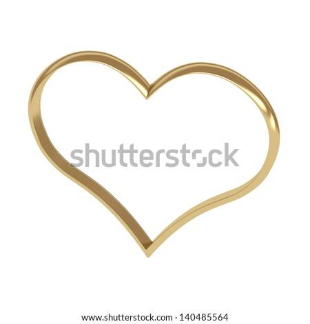 heart shape golden rings. - stock photo