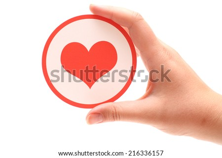 Heart shape in hand.