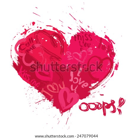 Heart shape is made of brush strokes and scribbles and words I LOVE YOU, miss you, call me - element for Valentines Day or wedding design. Raster version - stock photo