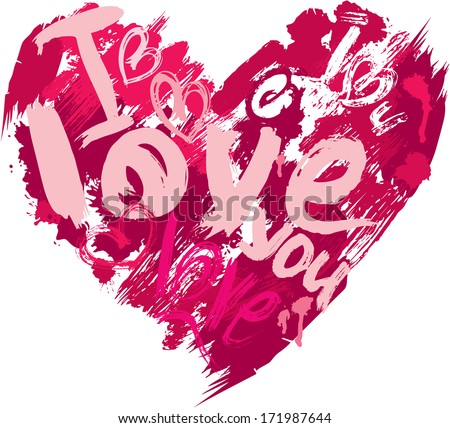 Heart shape is made of brush strokes and scribbles and words LOVE, I LOVE YOU - element for Valentines Day or wedding design. Raster version - stock photo