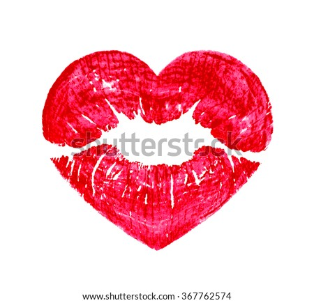 heart shape kissing lips isolated over a white background - stock photo