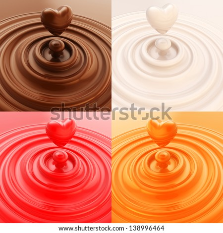 Heart shape liquid drop as abstract background, set of four, brown, white, orange, red - stock photo