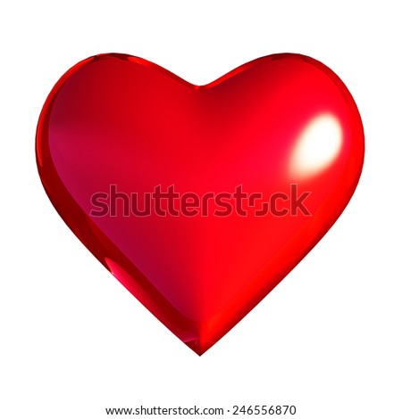 Heart shape Love symbol classic red. Saint Valentine's day greeting card design element. Healthy life blood beat icon. render isolated on white background - stock photo