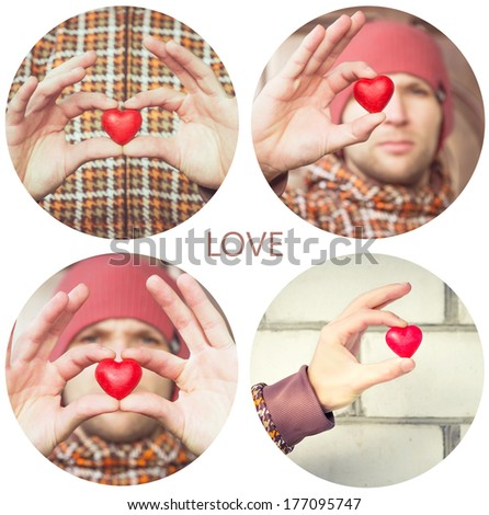 Heart shape love symbol in man hands Valentines Day holiday romantic greeting people relationship concept collage set
