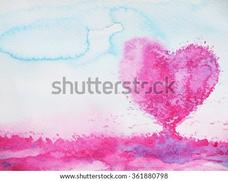 heart shape love tree for wedding, valentines day, watercolor painting design illustration - stock photo