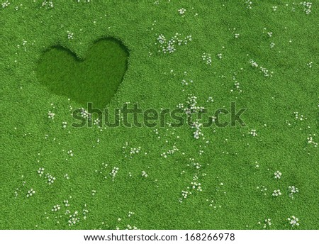 Heart shape made of fresh and natural flowers on a spring meadow, copy space, conceptual design - stock photo