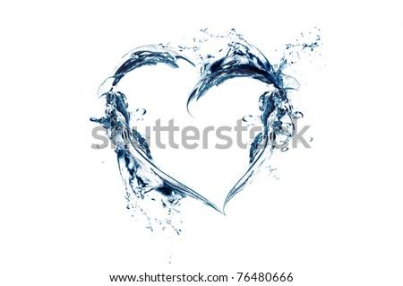 heart shape made of water splash - stock photo
