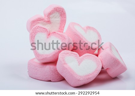 Heart shape marshmallow on white background
