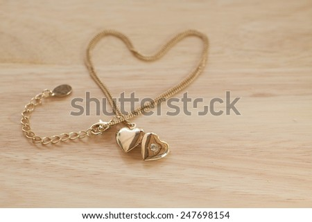 heart shape necklace with valentine's day background - stock photo