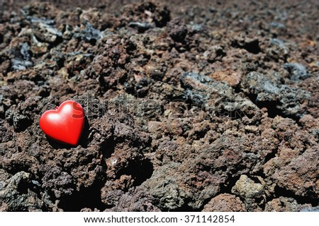 Heart shape on cold lava rocks, Mauna Kea volcano, Big Island, Hawaii, Usa - stock photo