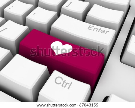 heart shape on red key of keyboard