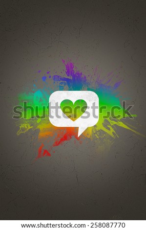 Heart Shape on White Speech Bubble In front Abstract Colors on a Gray Gradient Background. - stock photo