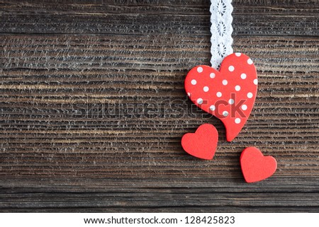 heart shape on wooden background