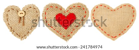 Heart Shape Patch Object with Stitches Seam, Sackcloth Decorative Fabric Isolated White Background, Valentines Day Burlap Hanging Icon Set  - stock photo