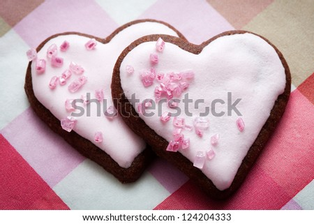 Heart shape pink cookies for Valentine�´s Day