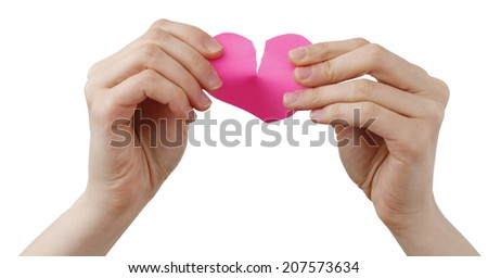 Heart shape Posst It and a Woman - stock photo