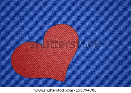 Heart Shape - Red heart shaped patch on blue in jeans fabric look and stitching effect for Valentine's day, lovers and love and everything connected to love. - stock photo
