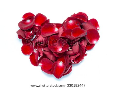 Heart Shape Red rose petal on white background