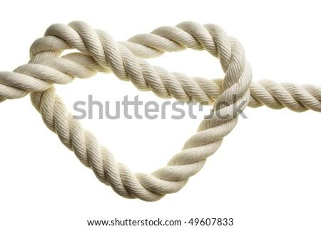 Heart shape rope isolated over white background - stock photo