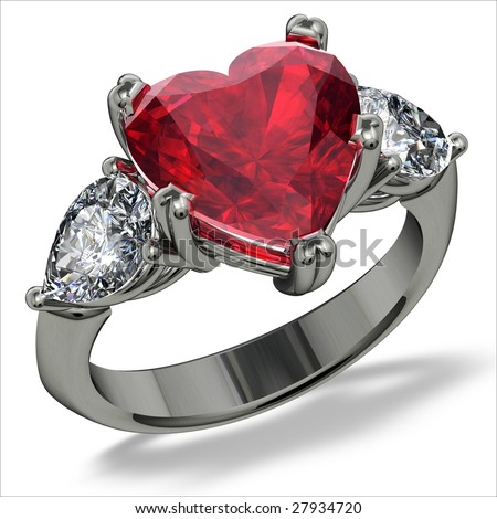 Heart shape ruby and diamond ring on white - stock photo