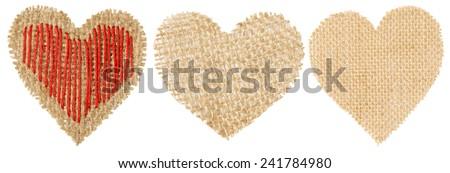 Heart Shape Sackcloth Patch, Valentine Day Burlap Decorative Object Isolated White Background - stock photo