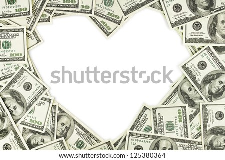 Heart shape sign with 100 dollar banknotes. Valentine concept background - stock photo
