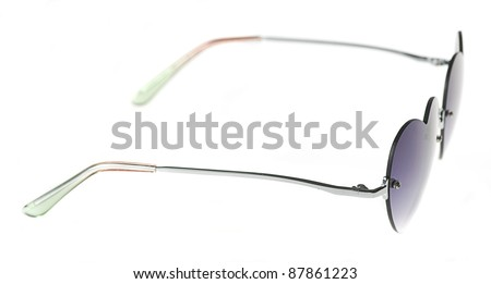 heart shape sunglasses isolated on a white background