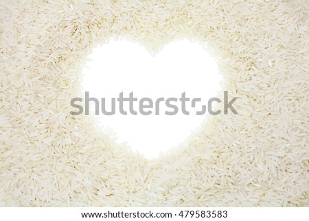 Heart shape, thai jasmine rice on white background