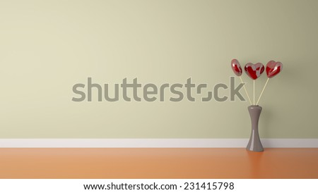 heart shape toy inside vase in empty interior with a cream wall  - stock photo