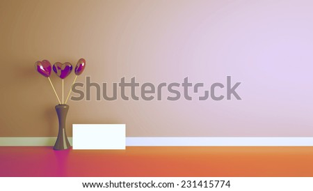 heart shape toy inside vase in interior with pink wall, retro - stock photo