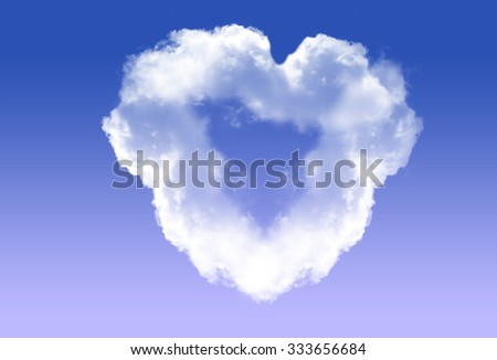 Heart shape white cloud isolated over black background. Love and romantic passion conceptual illustration - stock photo