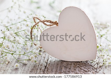 heart shape with copy space and white flowers