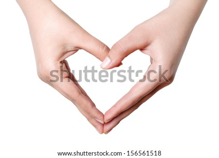 Heart shape with hand . Isolated on white  - stock photo