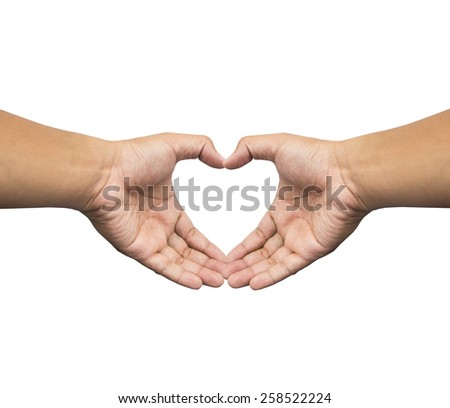Heart shape with hand on white background