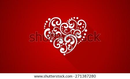 heart shape with long shadows - stock photo