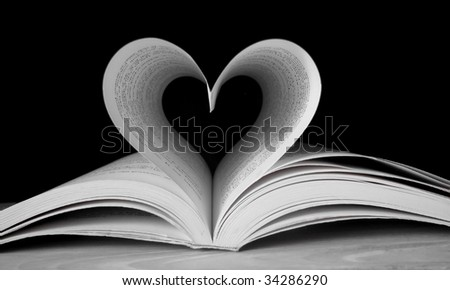 Heart shape with pages of book