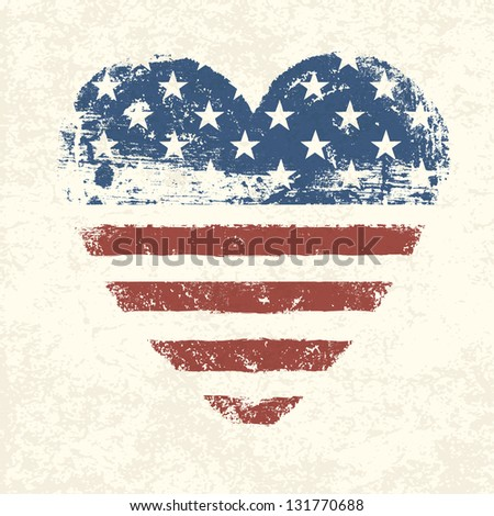 Heart shaped american flag. Raster version, vector file available in portfolio. - stock photo