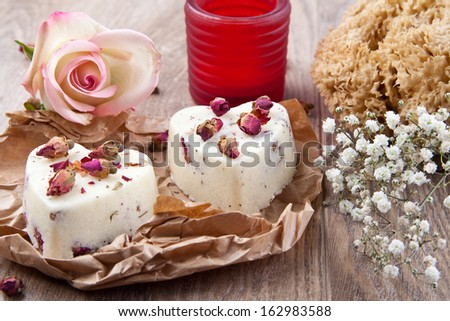 Heart shaped bath pralines with rose flavor - stock photo
