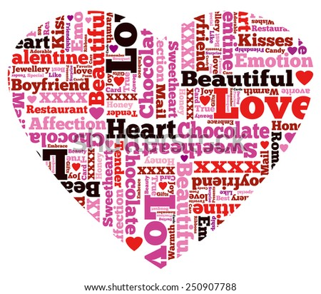 Heart Shaped Beautiful Valentine Themed Typographical Pattern made up of the many words representing Love and Affection. - stock photo