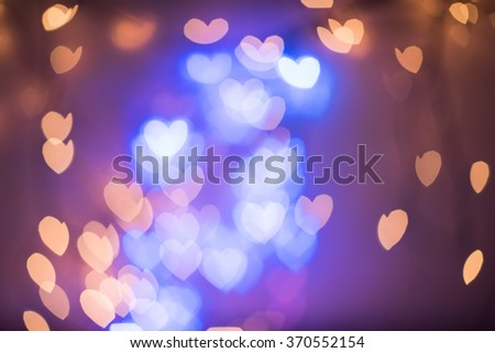Heart shaped bokeh lights. Valentines Day background  - stock photo