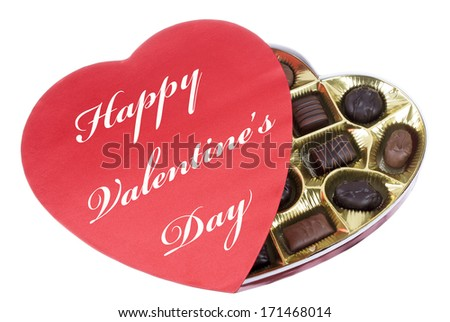 Heart Shaped Box of Valentine Candy with Happy Valentine's Day Text - stock photo