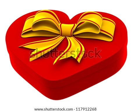 heart shaped box with golden bow for gift on white background - stock photo