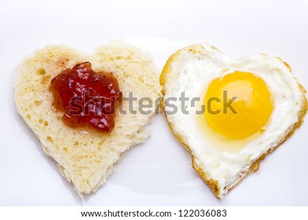 Heart shaped bread and egg