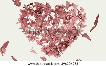 Heart shaped butterfly pink color - stock photo