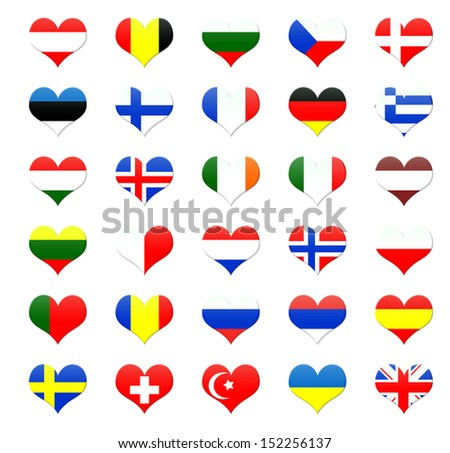 Heart shaped buttons of european countries flags