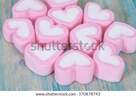 heart shaped candies background,selective focus.